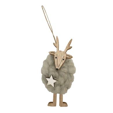 Renna in lana e legno colori naturali , L 5 cm x P 3 cm