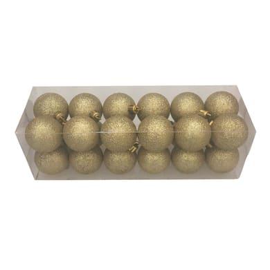Box da 24 palline in plastica dorate effetto glitter H 4 cm, Ø 4 cm
