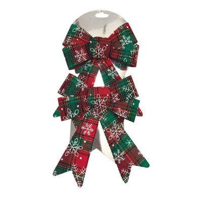 Set 2 fiocchi in tessuto decorati in rosso e verde , L 13 cm