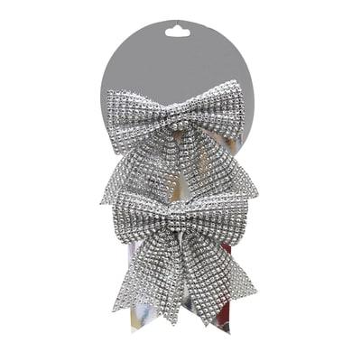 Fiocco Set 2 fiocchi argento H 12 cm, L 12 cm confezione da 2 pezzi