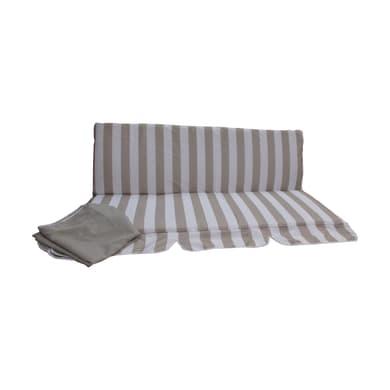 Cuscino dondolo 3 posti bianco/tortora 110x130 cm, 2 pezzi