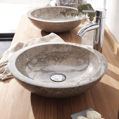 Lavabo da appoggio rotondo Calypso in marmo Ø 43 x H 12 cm grigio antracite