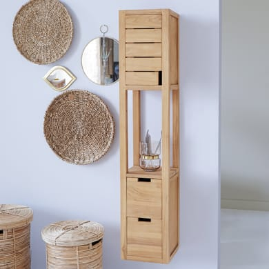 Colonna Serena 2 cassetti 1 anta L 30 x P 30 x H 150 cm marrone legno ed effetto legno TIKAMOON