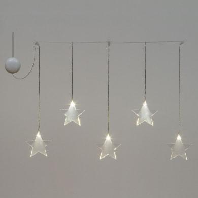 Tenda luminosa 5 lampadine led bianco caldo H 14 x L 80 cm