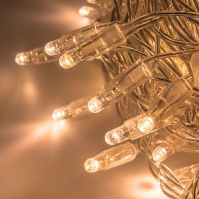 Catena luminosa 96 lampadine LED bianco caldo 10 m