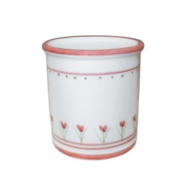 Bicchiere porta spazzolini Decoro 198/r in ceramica rosa