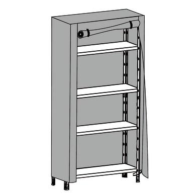 Custodia   colore grigio / argento L 95 X P 50 X H 160 cm