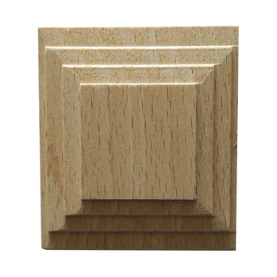 Fregio piramide in faggio grezzo 60 x 60 x 10 mm