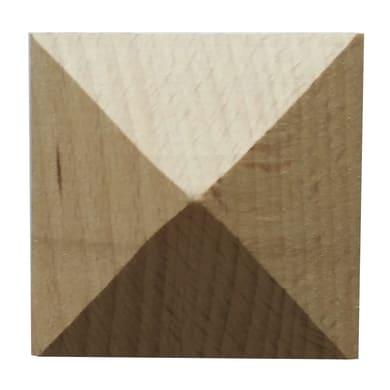 Fregio piramide in faggio grezzo 60 x 60 x 15 mm