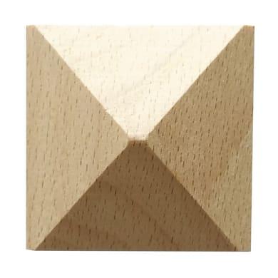 Fregio piramide in faggio grezzo 50 x 50 x 12 mm