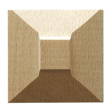 Fregio piramide in faggio grezzo 50 x 50 x 10 mm