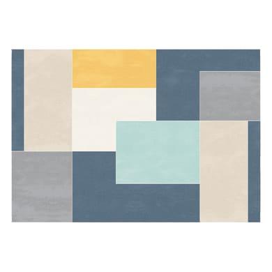 Tappeto Disegno fantasia grigio e blu 160x230 cm