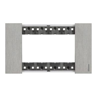 Placca Living Now BTICINO 4 moduli acciaio