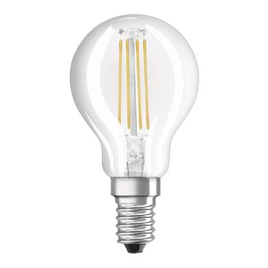 Lampadina LED filamento, E14, Sferico, Trasparente, Luce naturale, 4W=470LM (equiv 40 W), 300° , OSRAM