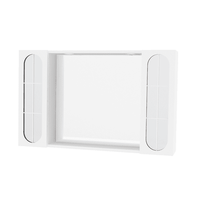 Specchio contenitore con luce Classica L 92 x P 15.5 x H 57 cm bianco lucido laccato
