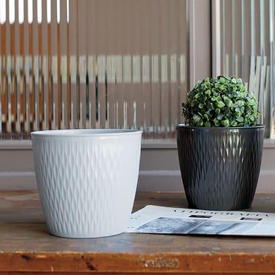 Vaso Liberty STEFANPLAST in plastica colore bianco H 15 cm, Ø 16 cm