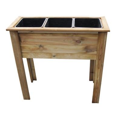 Fioriera per orto alta in legno 10-74. verde L 25 x P 25 x H 81.5 cm