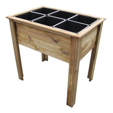 Fioriera per orto alta in legno 10-73. verde L 50 x P 25 x H 81.5 cm