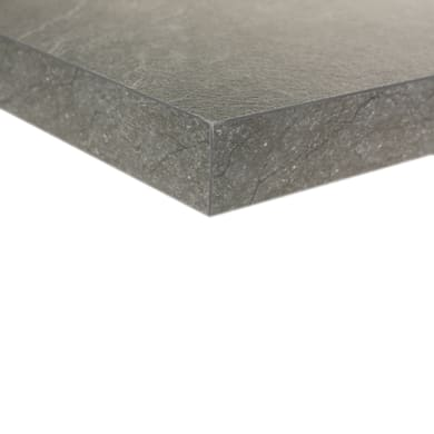 Piano cucina in laminato grigio L 188 x P 80 cm, spessore 3.8 cm