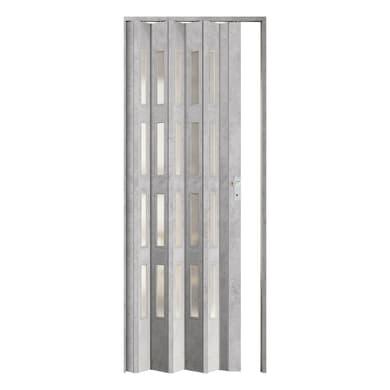 Porta a soffietto Vera in pvc cemento L 89.5 x H 214 cm