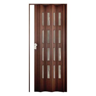 Porta a soffietto Luciana in pvc marrone L 88.5 x H 214 cm