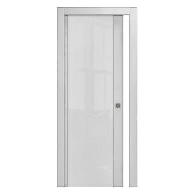 Porta scorrevole a scomparsa Kent Vetrata frassino bianco L 80 x H 210 cm reversibile