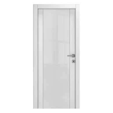 Porta a battente Kent Vetrata frassino bianco L 80 x H 210 cm reversibile