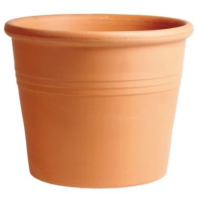Vaso Cilindro rigato in terracotta colore cotto H 19 cm, Ø 23 cm