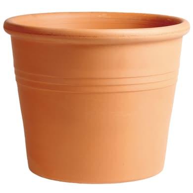 Vaso Cilindro rigato in terracotta colore cotto H 35.5 cm, Ø 43 cm