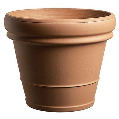 Vaso Doppio bordo liscio in terracotta colore cotto H 41 cm, Ø 45 cm