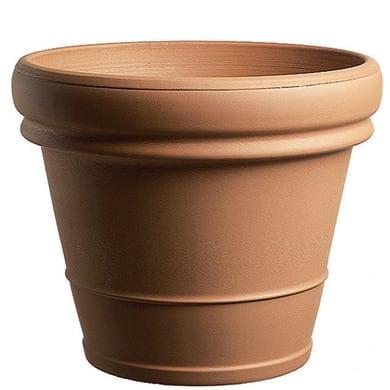 Vaso Doppio bordo liscio in terracotta colore cotto H 46 cm, Ø 56 cm