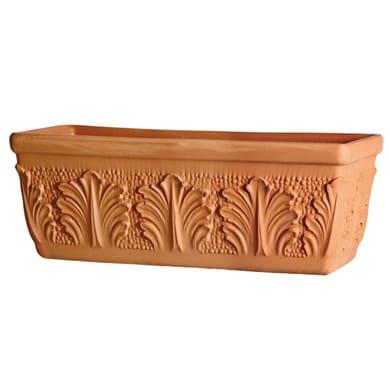 Fioriera Roma in terracotta colore cotto H 19 cm, L 42 x P 16.8 cm