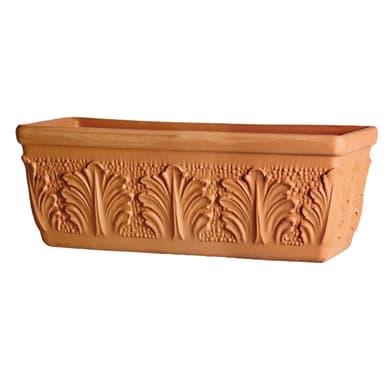 Fioriera Roma in terracotta colore cotto H 22 cm, L 52 x P 19.1 cm