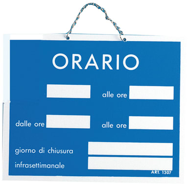 Cartello segnaletico Orario pvc 15 x 11 cm