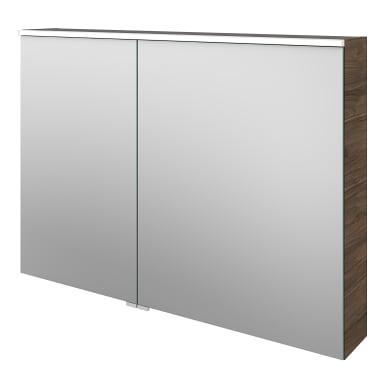 Specchio contenitore con illuminazione L 105 x P 17 x H 75 cm marrone legno ed effetto legno Sensea
