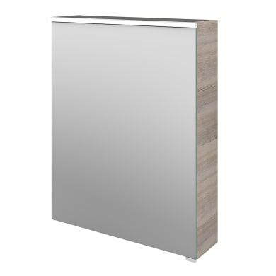 Specchio contenitore con illuminazione L 60 x P 17 x H 75 cm argento legno ed effetto legno Sensea