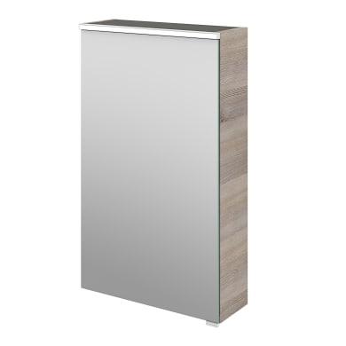 Specchio contenitore con illuminazione L 45 x P 17 x H 75 cm argento legno ed effetto legno Sensea