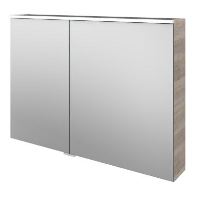 Specchio contenitore con illuminazione Neo L 105 x P 17 x H 75 cm argento legno ed effetto legno Sensea