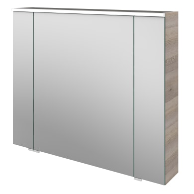 Specchio contenitore con illuminazione Neo L 90 x P 17 x H 75 cm argento legno ed effetto legno Sensea