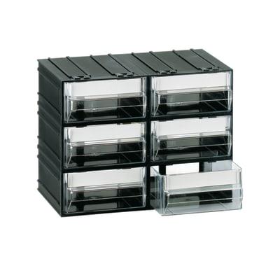 Cassettiera portaminuteria in plastica nero 6 scomparti