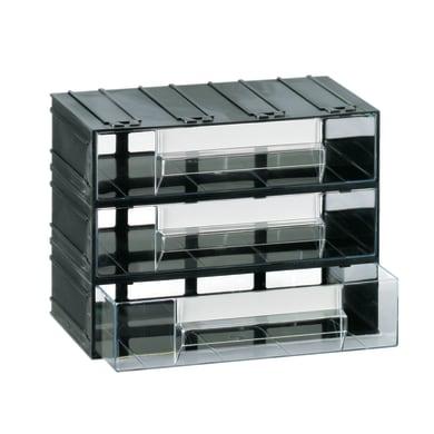 Cassettiera portaminuteria in plastica nero 3 scomparti
