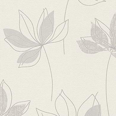 Carta da parati Fiore glitter grigio