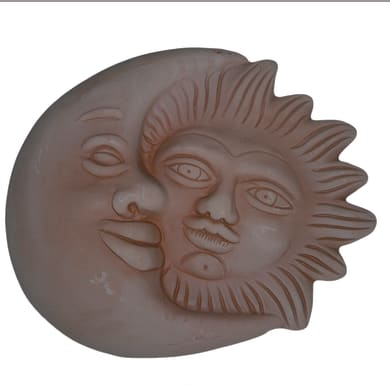 Decorazione in terracotta Sole e Luna L 22 x H 26 cm