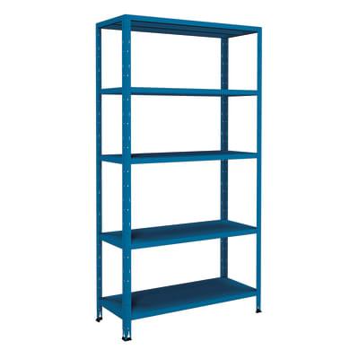 Scaffale in metallo in kit Crosser L 100 x P 40 x H 188 cm blu