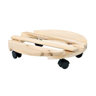 Supporto con rotelle per vaso in legno tondo Ø 30 cm