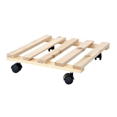 Supporto con rotelle per vaso in legno quadrato H 30 cm, L 30 x