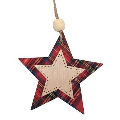 Stella in legno decorazione scozzese H 10 cm, L 10 cmx P 0.4 cm,