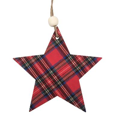 Stella scozzese in legno fantasia scozzese rossa H 14 cm, L 14 cmx P 0.5 cm,