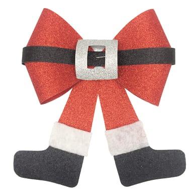 Fiocco e gambe di Babbo Natale in tessuto rosso , L 19 cm x P 0.8 cm