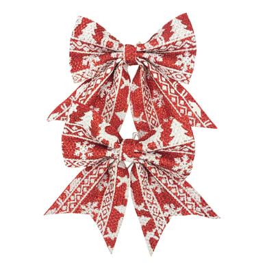 Set 2 fiocchi in tessuto rosso con decori bianchi , L 13 cm x P 0.5 cm